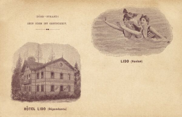 The Lido - Venice, depicting the Lido Hotel building and bathers Date: circa 1895