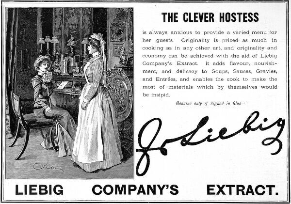 Advertisement by Liebig Companys extract showing the lady of the house discussing a dinner party menu with her housekeeper