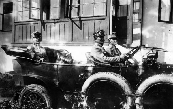 Lieutenant General (or Field Marshal) Max Hoffmann (1869-1927), German army officer who served on the Eastern Front during the First World War. Seen here riding in the back of an open car. Date: 1914-1918