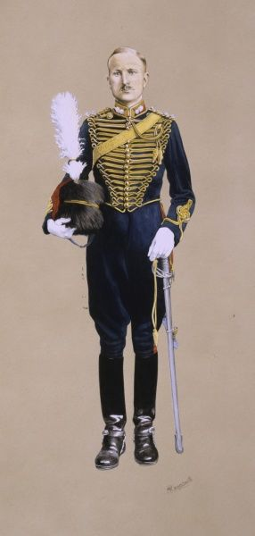 Lieutenant of the Royal Horse Artillery in Full Dress. Painting by Malcolm Greensmith