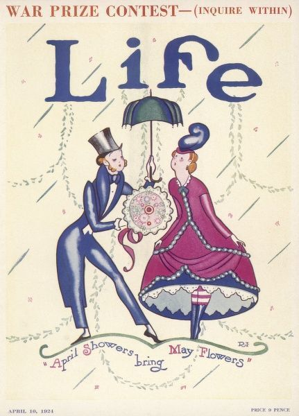 A gentleman in top hat offers a startled looking young lady a bouquet of flowers and a parasol for shelter