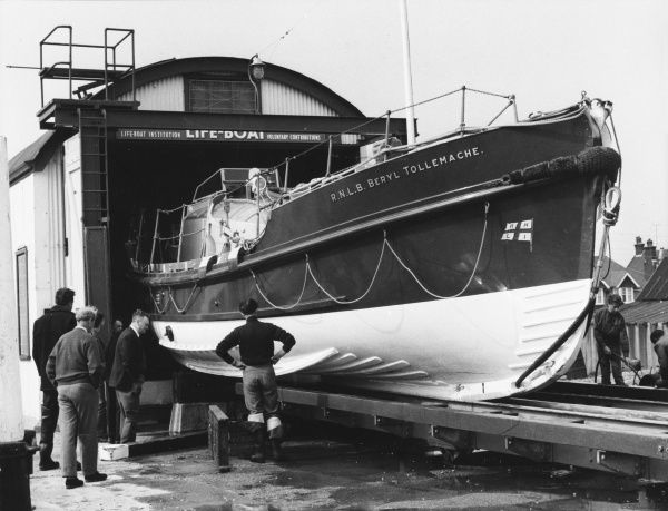 The Inshore Lifeboat (ILB) Station, Eastbourne, which was built in 1903, seen here with the Royal Navy Lifeboat (RNLB) Beryl Tollemache, which was launched in 1949. Date: 1960s
