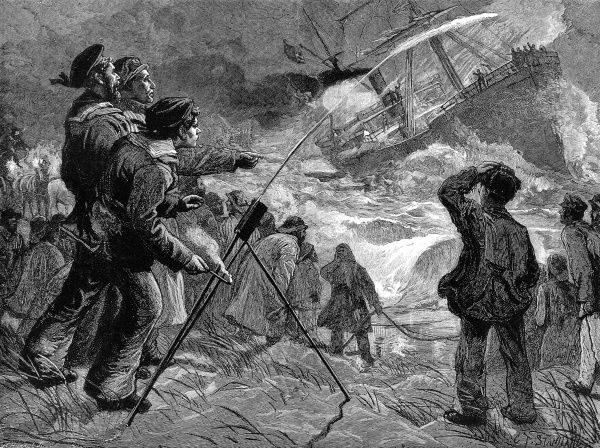 Engraving showing the firing of a rocket, by the volunteer life brigade, to a steam-ship being wrecked on rocks