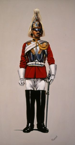 Life Guard - Lance Corporal - Mounted Review Order (wearing cuirass). Painting by Malcolm Greensmith