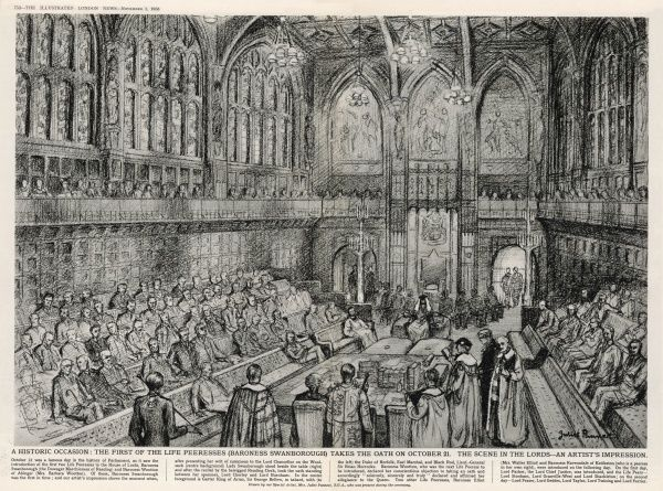 The first of the life peeresses, Baroness Swanborough, takes the oath on October 21 1958 in the House of Lords