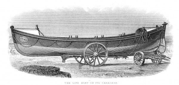 A lifeboat rests on its carriage, ready to be dragged across the beach and launched into the water to the aid of a ship in distress. Date: circa 1880