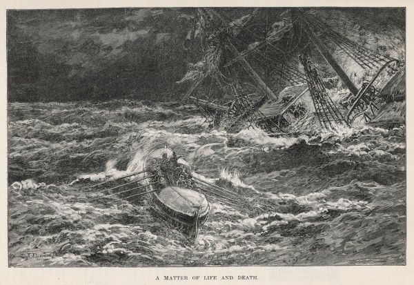 A lifeboat approaches a ship in distress : coming close enough to rescue those aboard is a tricky and dangerous business