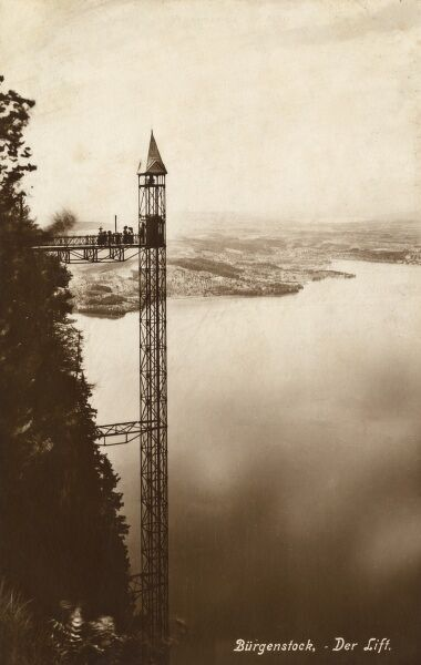 This 170-metre passenger lift enables tourists to ascend the Burgenstock, on the Vierwaldstallersee, without the effort of climbing! Date: 1910s