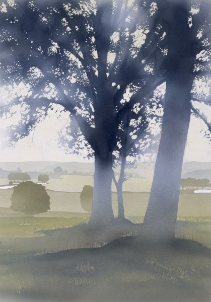 Hazy mid-afternoon light falls through two large trees, sat in the middle of a classic English countryside scene of rolling fields and low distant hills. Airbrush painting by Malcolm Greensmith