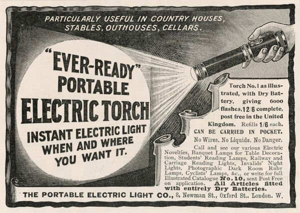 ELECTRIC TORCH Advertisement by the Portable Electric Light Co. for a dry battery electric torch