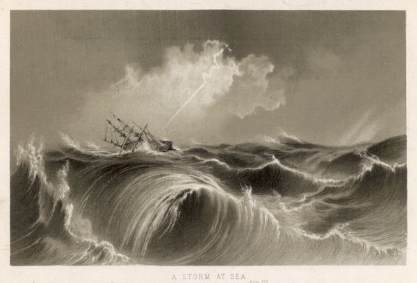 Sailing ship in stormy seas struck by lightning