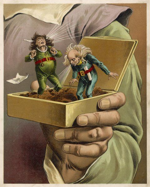A couple of inquisitive Lilliputians climb inside Gulliver's snuff box & sneeze & sneeze