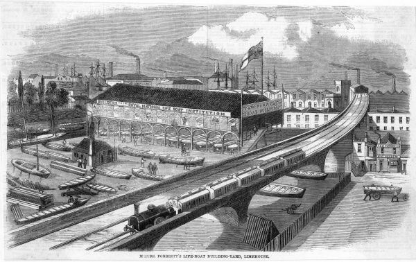 Messrs Forrestt's lifeboat building yard and the elevated railway at Limehouse