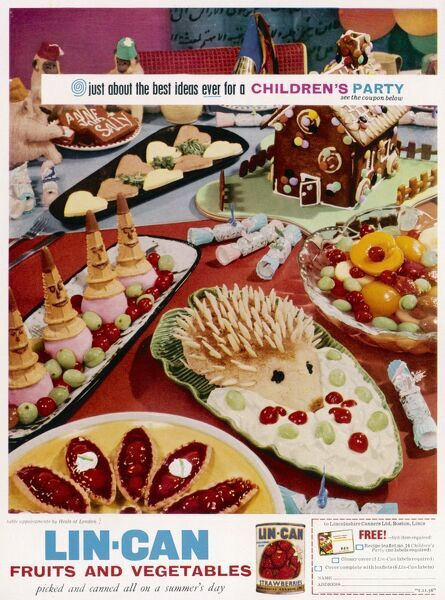 Just about the best ideas EVER for a Children's Party utilising all sorts of tinned fruits from Lin-Can of Boston, Lincolnshire. Among the rather lurid delicacies on this tea table are ice cream cone men, a hedgehog stuck in snow (or is that cream?)