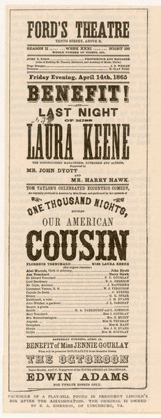 The playbill found in President Abraham Lincoln's box after his assassination by John Wilkes Booth at Ford's Theatre