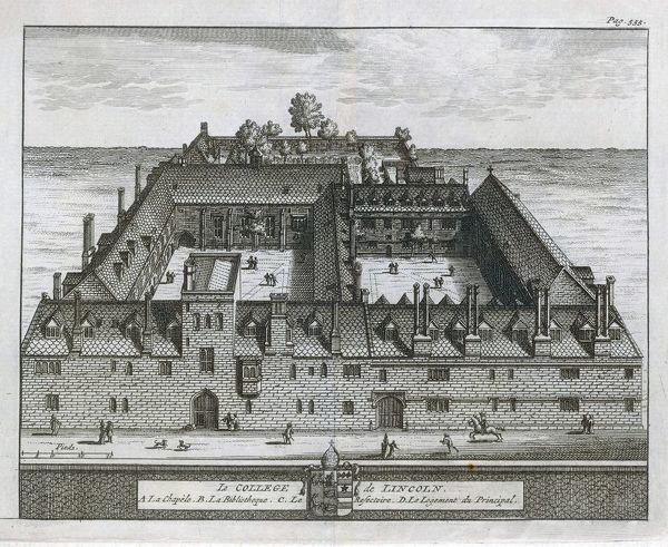 A bird's-eye view of the college showing the chapel, dining hall, library & the Dean's lodgings & a formal garden. One of 39 engravings made of Oxford Colleges by Loggan