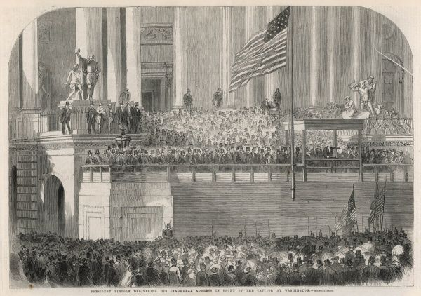 US President Abraham Lincoln delivers his inaugural address in front of the Capitol in Washington. Lincoln defeated two Democrat challengers, with 40% of the popular vote