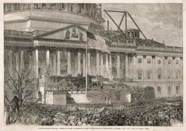 Inauguration of Abraham Lincoln as President of the United States at Washington, in front of the partly completed Capitol building