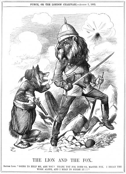 "British Lion ""Going to help me, are you? Thank you for nothing, Master Fox. I began the work alone, and I mean to finish it!!!"" Moral: If you want a thing done well, you must do it yourself. Date: 1882"