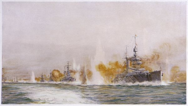 HMS 'Lion' leads the battle- cruisers into the fray at the Battle of Jutland