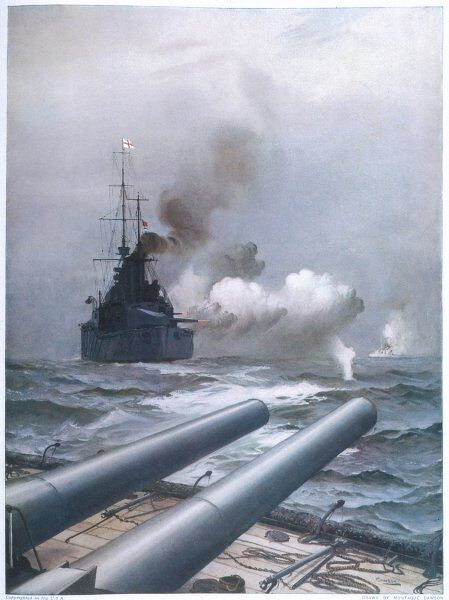 In a naval engagement off Heligoland, the 'Lion' sinks a German cruiser