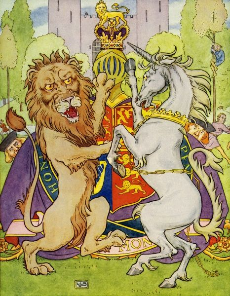The Lion and the Unicorn by Leslie Brooke. Some gave them white bread, some gave them brown; Some gave them plum cake, and sent them out town Date: 1922