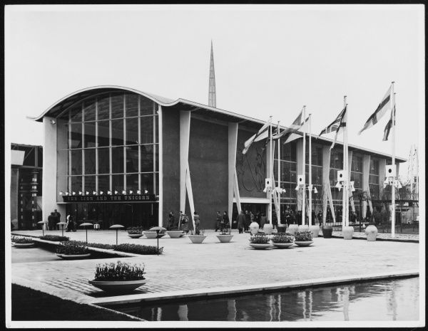 The Lion and Unicorn Pavilion at the South Bank Exhibition, containing exhibits on the use of the English language, growth of British parliamentary government, etc