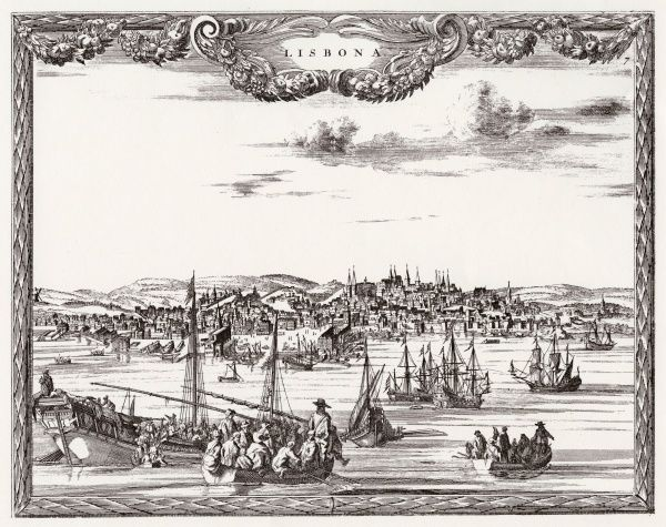 A view of Lisbon from the sea, before the earthquake of 1755
