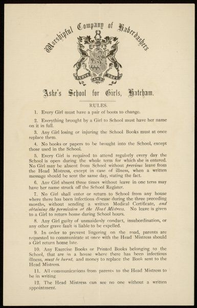A list of 12 school rules of the Haberdashers' Aske's School for Girls, Hatcham including the penalty for unmaidenly conduct. You have been warned!
