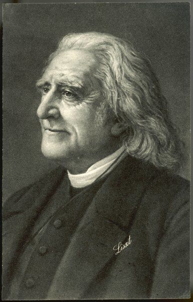 FRANZ LISZT the Hungarian musician in old age with a benign smile on his face