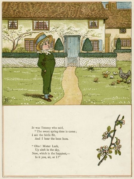 A little boy in a garden in the spring, watching a hen and her chicks on the lawn.  first published 1879