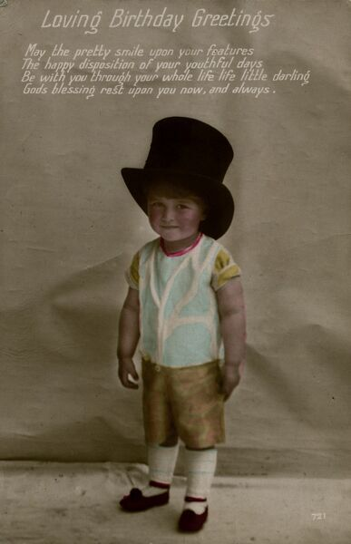 A little boy in a large top hat on a birthday postcard.  1916