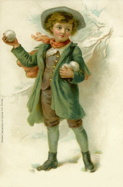 A little boy with snowballs.  19th century