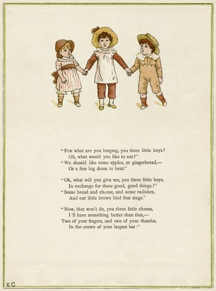 Three little boys holding hands.  first published 1879