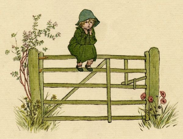 A little child sits in a huddled pose on top of a five-bar gate in the country.  first published 1881