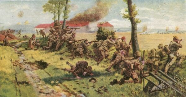 Fighting in the open country in the early months of World War One, before trench warfare turned the Western front into a stalemate