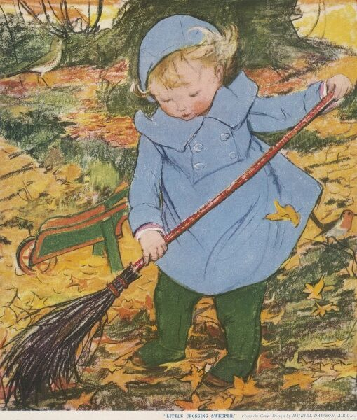 A small child in a blue coat and hat assiduously sweeps up autumn leaves with the help of an old-fashioned broom and a wheelbarrow
