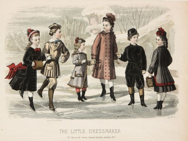 Fashion plate showing a group of children in suitable costumes skating on a winter's day