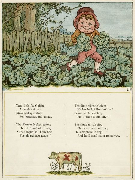 A little fat goblin stealing cabbages, much to the distress of the farmer.  first published 1879