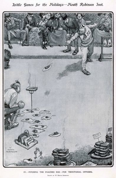 Another ridiculous and rather messy game from the imagination of William Heath Robinson showing territorial army officers throwing poached eggs at a slice of toast skewered by a toasting fork