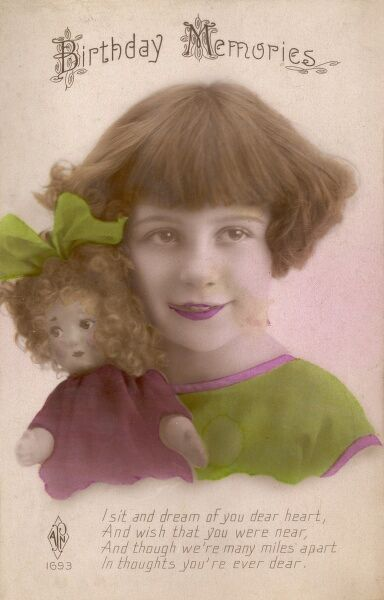 A little girl and her doll on a Birthday Memories postcard.  circa 1910s