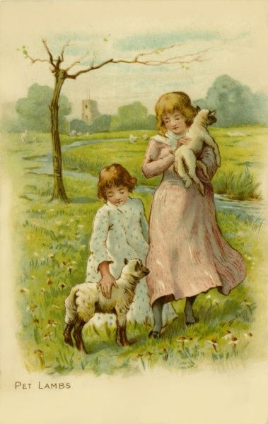 Two little girls with their pet lambs.  19th century