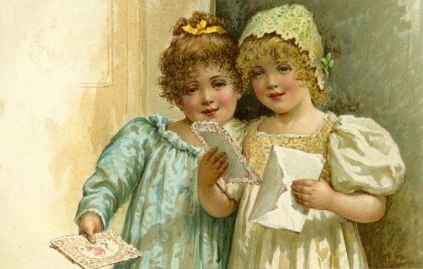 Two little girls receive a card.  circa early 20th century