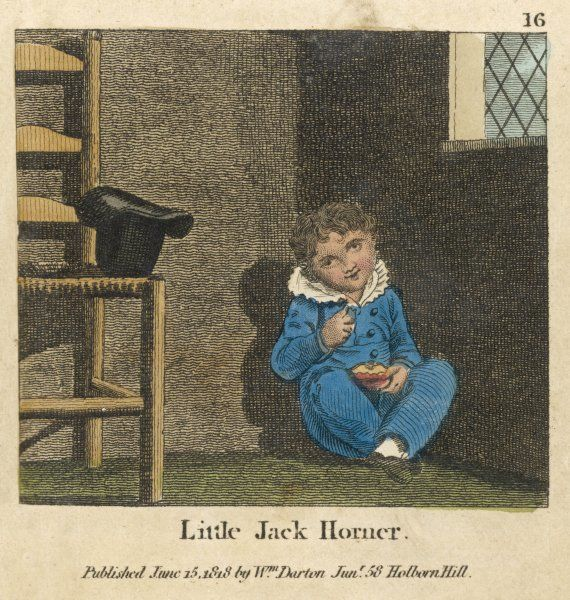 Little Jack Horner Sat in a corner Eating a Christmas pie; He put in his thumb, And pull'd out a