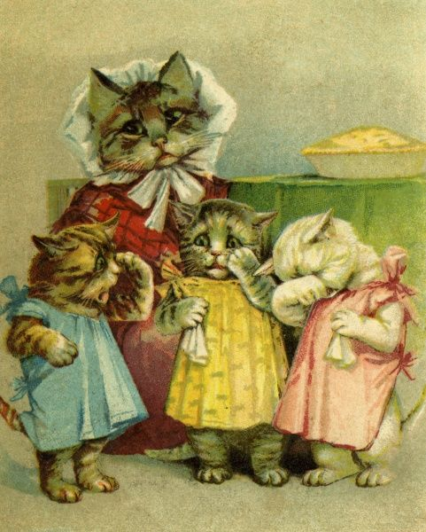 Three Little Kittens Have Lost Their Mittens. Artist: Louis Wain. Traditional nursery rhyme Date: circa 1905