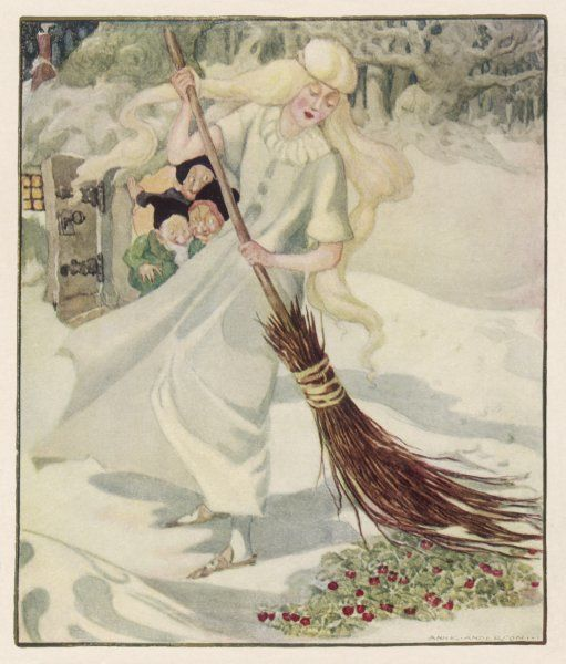 'THE THREE LITTLE MEN (here called dwarfs) IN THE WOOD' The girl finds the strawberries beneath the snow, while the three lttle men watch gleefully