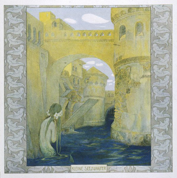 The little mermaid watches the castle drawbridge being lowered (Hans Christian Andersen)