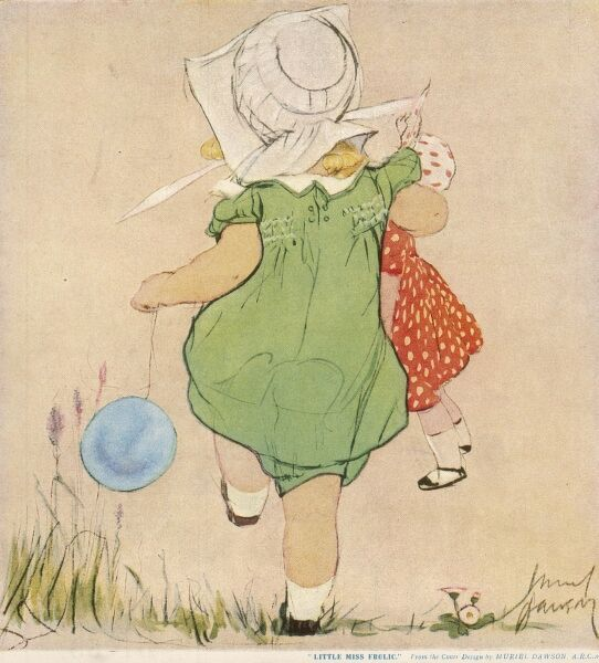 Charming illustration showing a little girl from the back wearing a green smock dress with matching bloomers and a white sun bonnet, skipping through the grass holding a large doll under one arm and holding a blue balloon