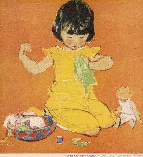 A little girl concentrates on a garment she is sewing, presumably for the doll which sits next to her. An interesting basket full of sewing paraphenalia spills over beside her