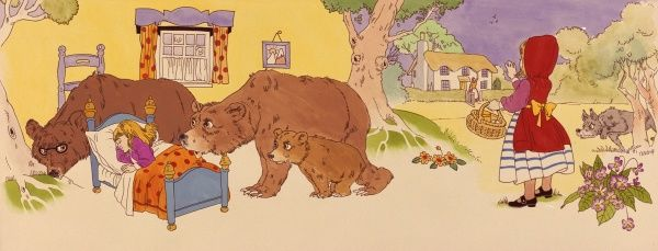 A composite illustration of two children's stories, Little Red Riding Hood on the right (with the wolf lurking in the background), and Goldilocks and the Three Bears on the left, with Goldilocks asleep in the Baby Bear's bed